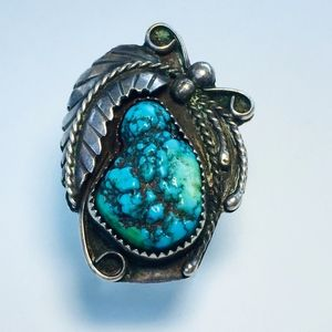 Vintage Bumpy Turquoise Nugget Sterling Ring